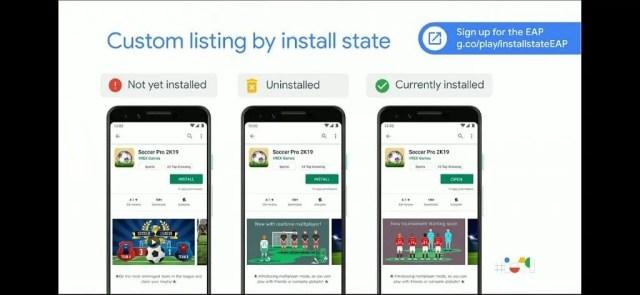 Custom install listing based on install state