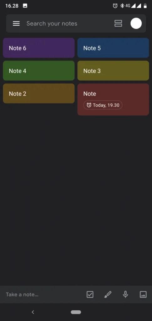google keep notes dark mode