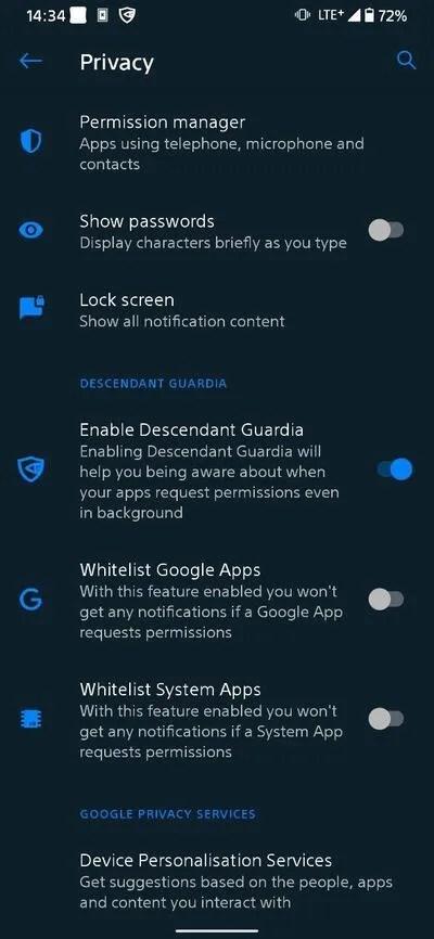Descendent X Guardia_settings