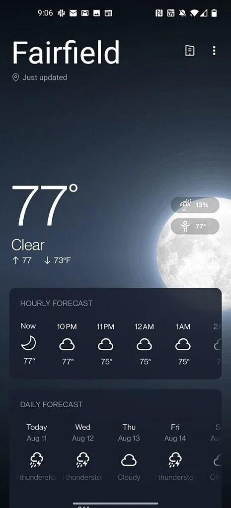 OxygenOS 11 weather app