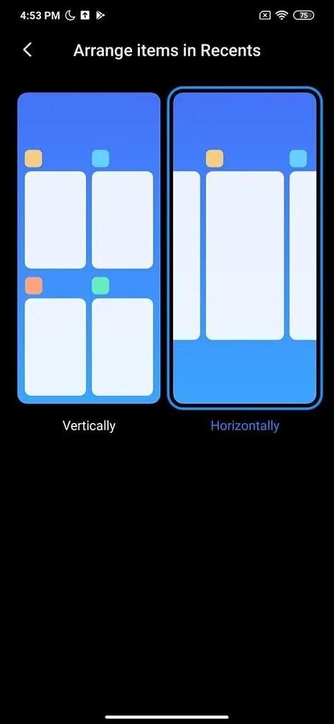 Xiaomi MIUI Launcher Alpha Horizontal Recents Pane
