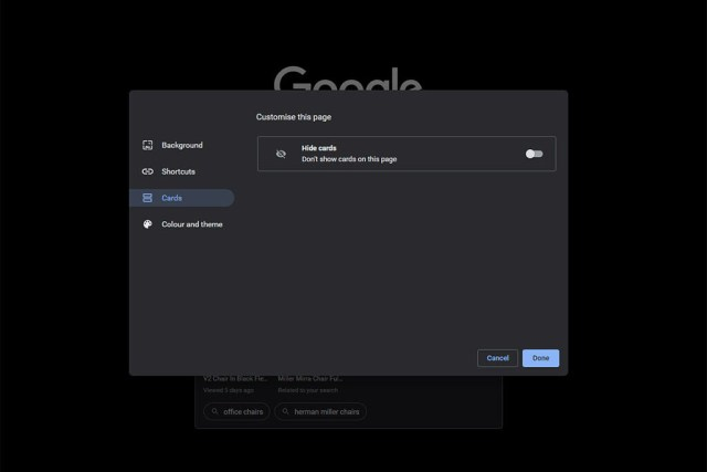 chrome enable cards on new tab page