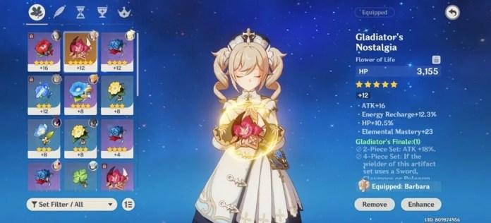 Genshin Impact - Barbara character with HP Artifacts