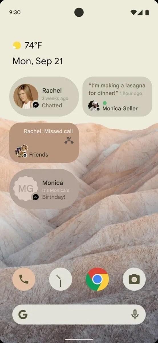 Widget de conversación de Android 12