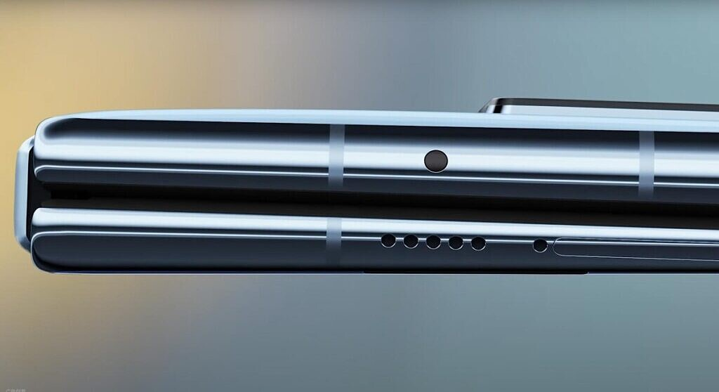 A render of the Mate X2's tapered design