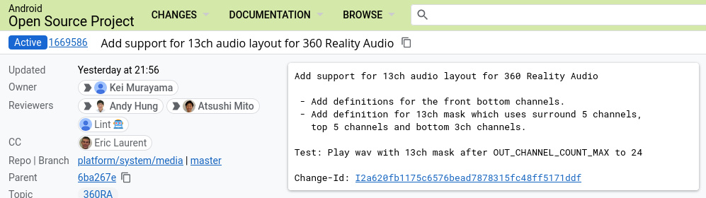 """""""Added 13-channel audio layout support for 360 Reality Audio - Add definitions for front-bass channels.  - Added definition for 13 channel mask which uses 5 surround channels, 5 upper channels and 3 lower channels.  Test: Play the wav with a 13-channel mask after OUT_CHANNEL_COUNT_MAX at 24 Change-Id: I2a620fb1175c6576bead7878315fc48ff5171ddf"""""""
