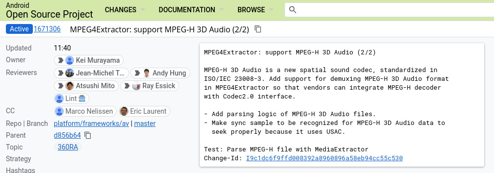 """""""MPEG4Extractor: supports MPEG-H 3D Audio (2/2) MPEG-H 3D Audio is a new spatial sound codec, standardized in ISO / IEC 23008-3.  Added support for MPEG-H 3D Audio demultiplexing in MPEG4Extractor so vendors can integrate MPEG-H decoder with Codec2.0 interface.  - Added analysis logic for MPEG-H 3D Audio files.  - Make the sync sample recognized for the MPEG-H 3D audio data to be properly searched because it uses USAC.  Test: Parsing MPEG-H File with MediaExtractor Edit ID: I9c1dc6f9ffd008392a8960896a58eb94cc55c530"""""""