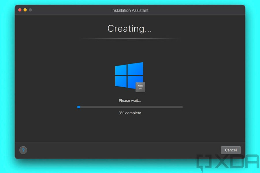 Progress bar for configuring Windows 10 in Parallels