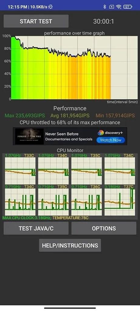 Xiaomi Mi 11X CPU Throttling Test