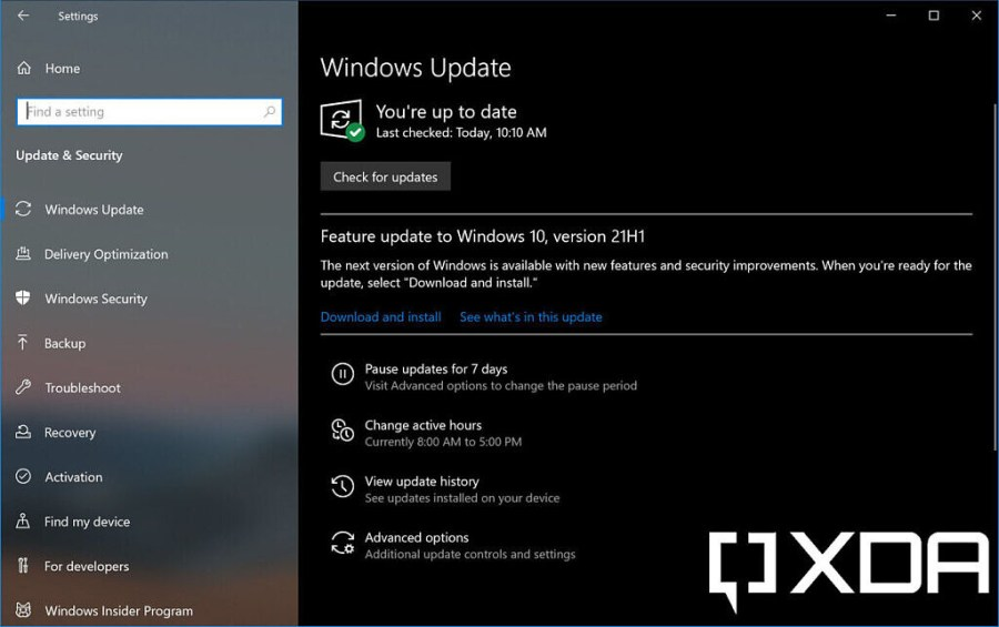 Page showing Windows 10 version 21H1