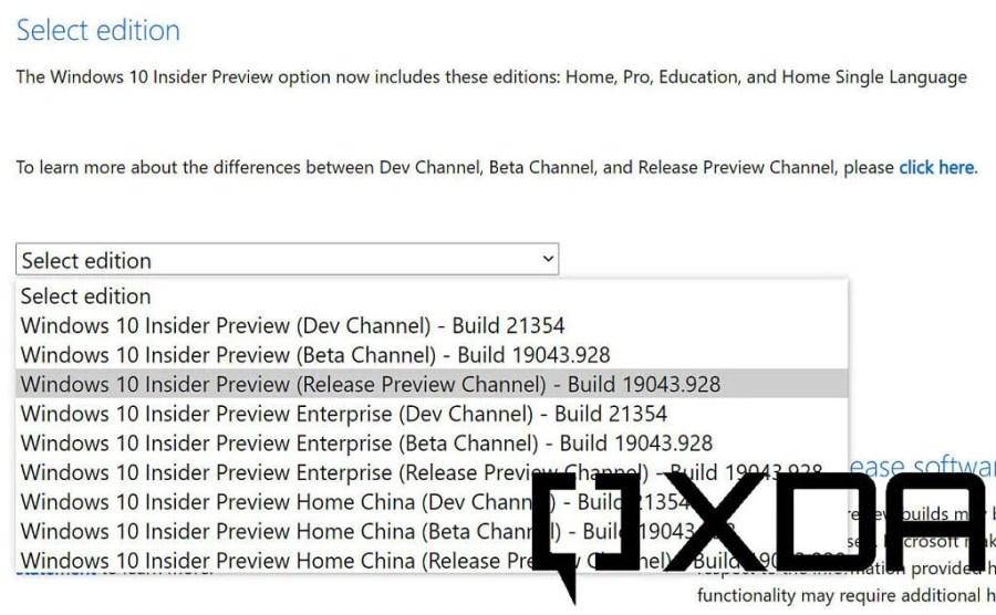 Windows Insider Program ISO selection