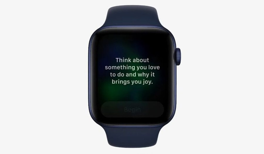 An Apple Watch Reflect session displaying a message asking the user to think about a happy memory