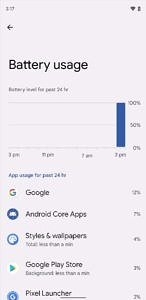 App battery usage info in Android 12 Beta 2