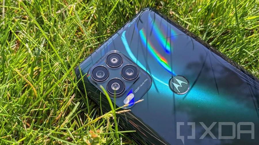 Close-up of Moto G Stylus 5G fingerprint sensor and camera