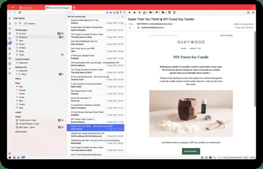 Main screen of Vivaldi Mail