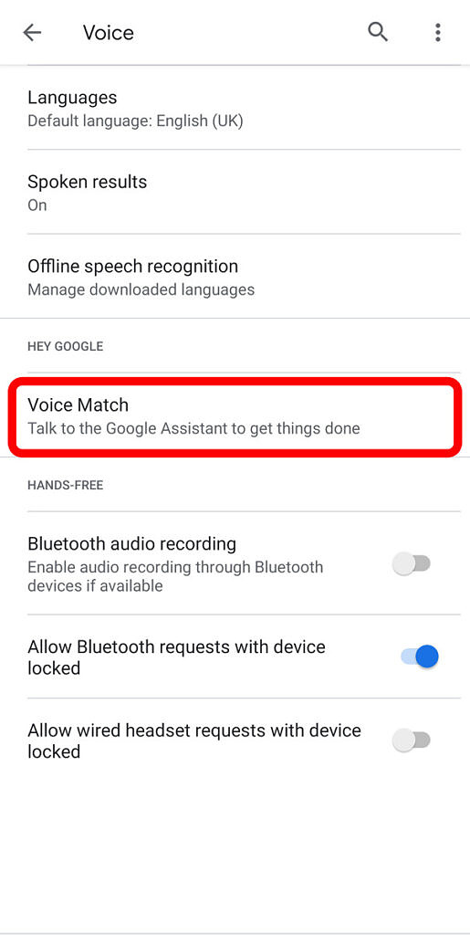 Google Assistant - Voice settings