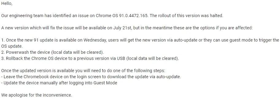 Chrome OS 91 bug fix