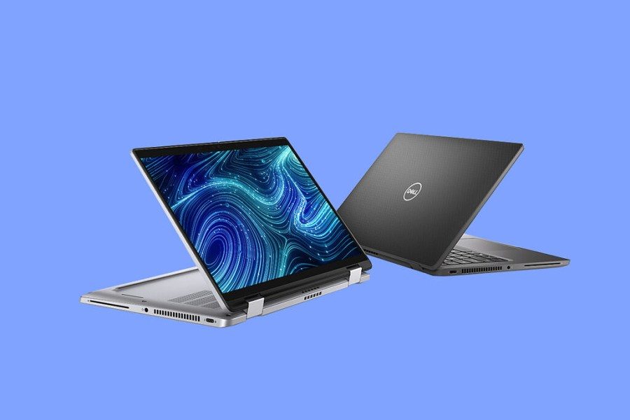 Dell Latitude 7320 2-in-1 on blue background