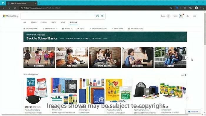 Back to school hub in Microsoft Bing