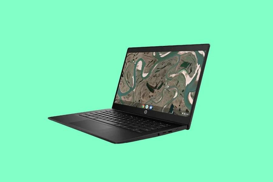 HP Chromebook 11MK G9 Education Edition green background