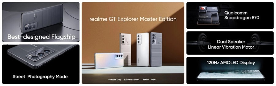 A slide showing various features of the Realme GT Master and Explorer phones at glance
