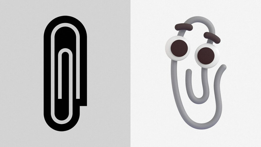 The new Clippy emoji next to the old paperclip emoji