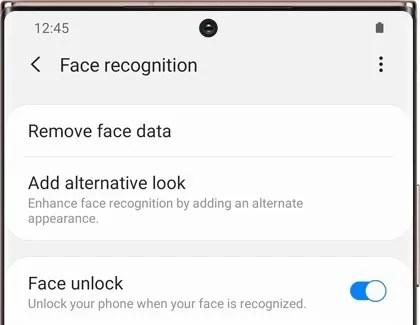 Face unlock options on Samsung