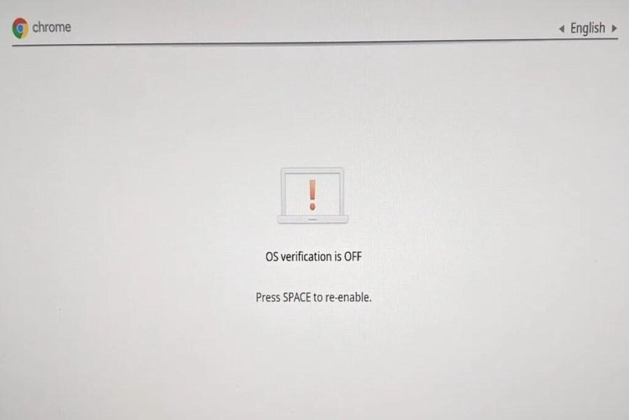 Verification off screen on Chrome OS when enabling developer mode