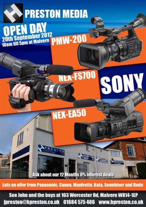 jp-sept PMW-200 and FS700 Open Day and Workshops at H Prestons, 20th Sept.
