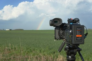 Rainbow under a severe thunderstorm. Miller Tripod.