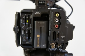 The PXW-Z100's card slots.