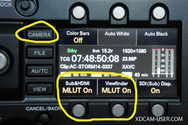 You can turn the MLUT's on and off by pressing the CAMERA button until you see the MLUT controls, then use the hotkeys to turn the MLUT's on and off.