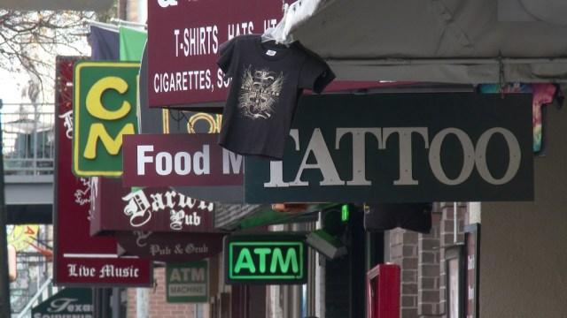 Shop signs, 6th Street, Austin. HXR-Z100 frame grab.
