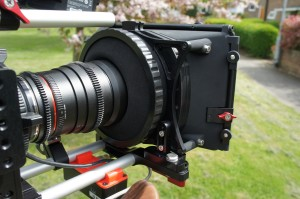 """A flexible donut or """"nun's Knikers"""" on the rear of the Matte Box keeps out light from the rear of the Matte Box."""