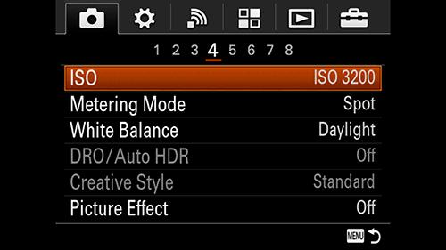 A7s Spot Metering Mode.