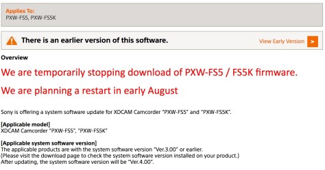 FS5-1024x537 Sony suspends release of PXW-FS5 firmware version 4.