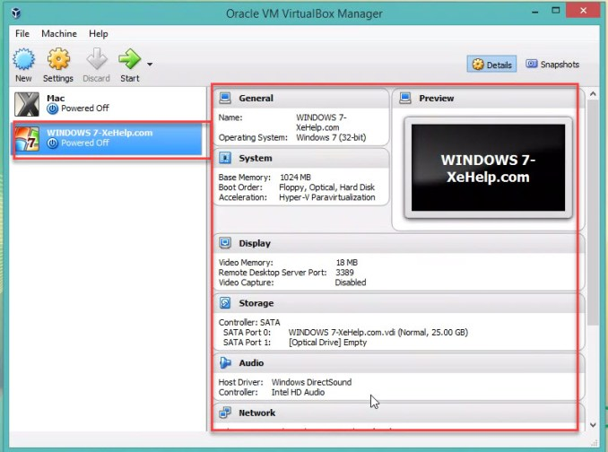 Set up VM VirtualBox for windows 7 Step 9.