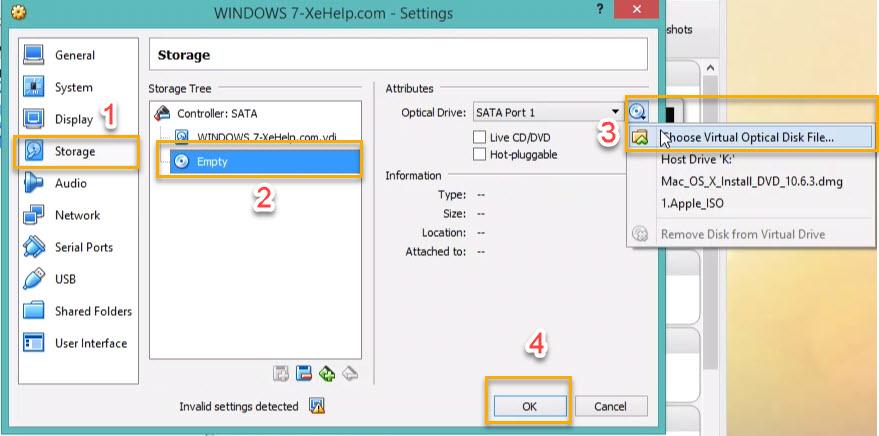 Windows 7 in VirtualBox step 1.