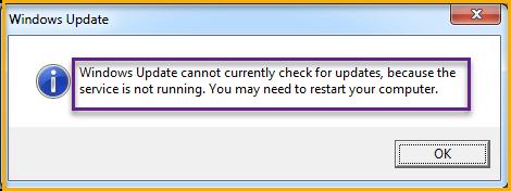 Solutions Windows Update Service Not Running