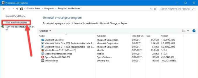 View installed updates - Blue Screen Windows 10 (12)
