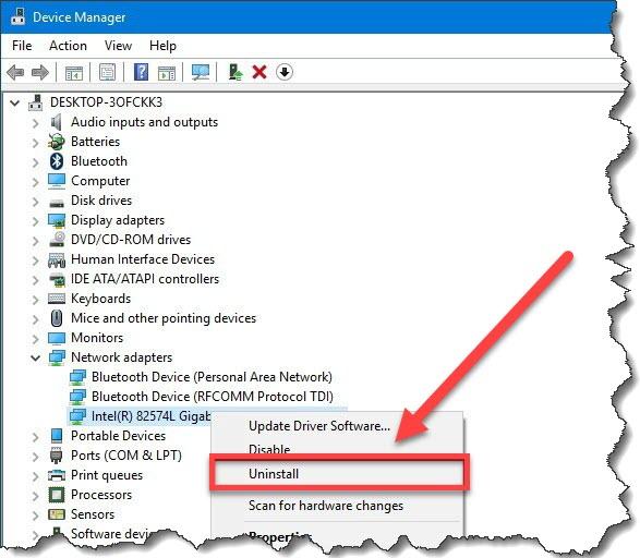 select Uninstall - Blue Screen Windows 10
