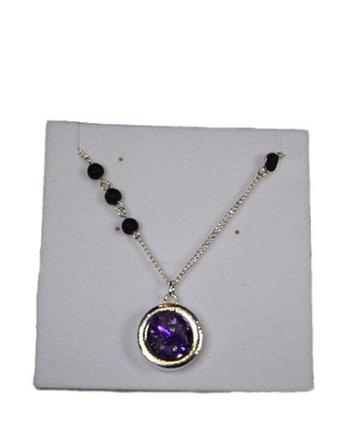 Collier et pendentif avec améthyste et perles de lave