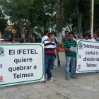 Sindicalizados de TELMEX se manifiestan en Huajuapan
