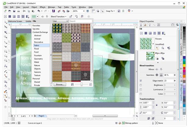 Corel x7 new patterns screen