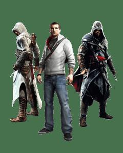 Ο Ezio, ο Altair και ο Desmond.