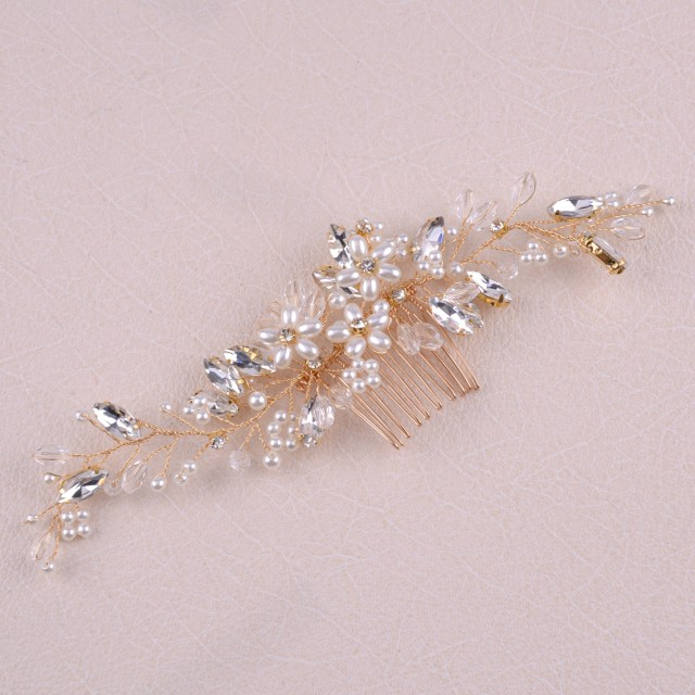 details about pearls gold wire wedding bride hair accessories hair pins comb tiaras headpiece