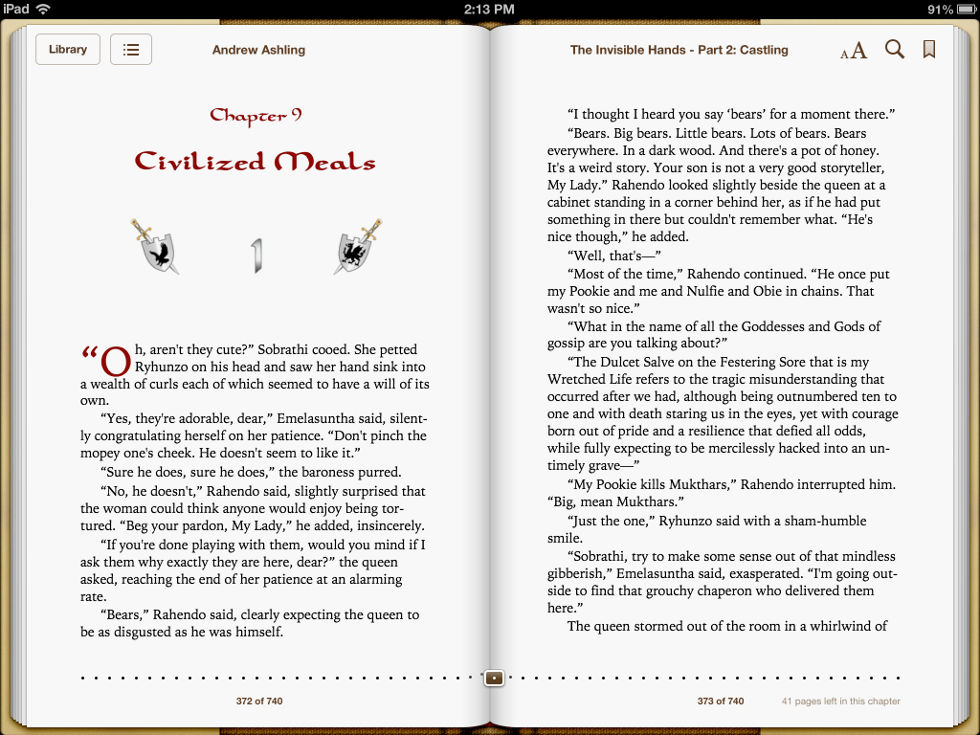 Screenshot taken on iPad of pages 372 & 373 of Dark Tales of Randamor the Recluse - Book 5, The Invisible Hands - Part 2: Castling by Andrew Ashling