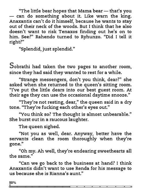 Screenshot taken on Kindle3 Keyboard of pages 378 of Dark Tales of Randamor the Recluse - Book 5, The Invisible Hands - Part 2: Castling by Andrew Ashling