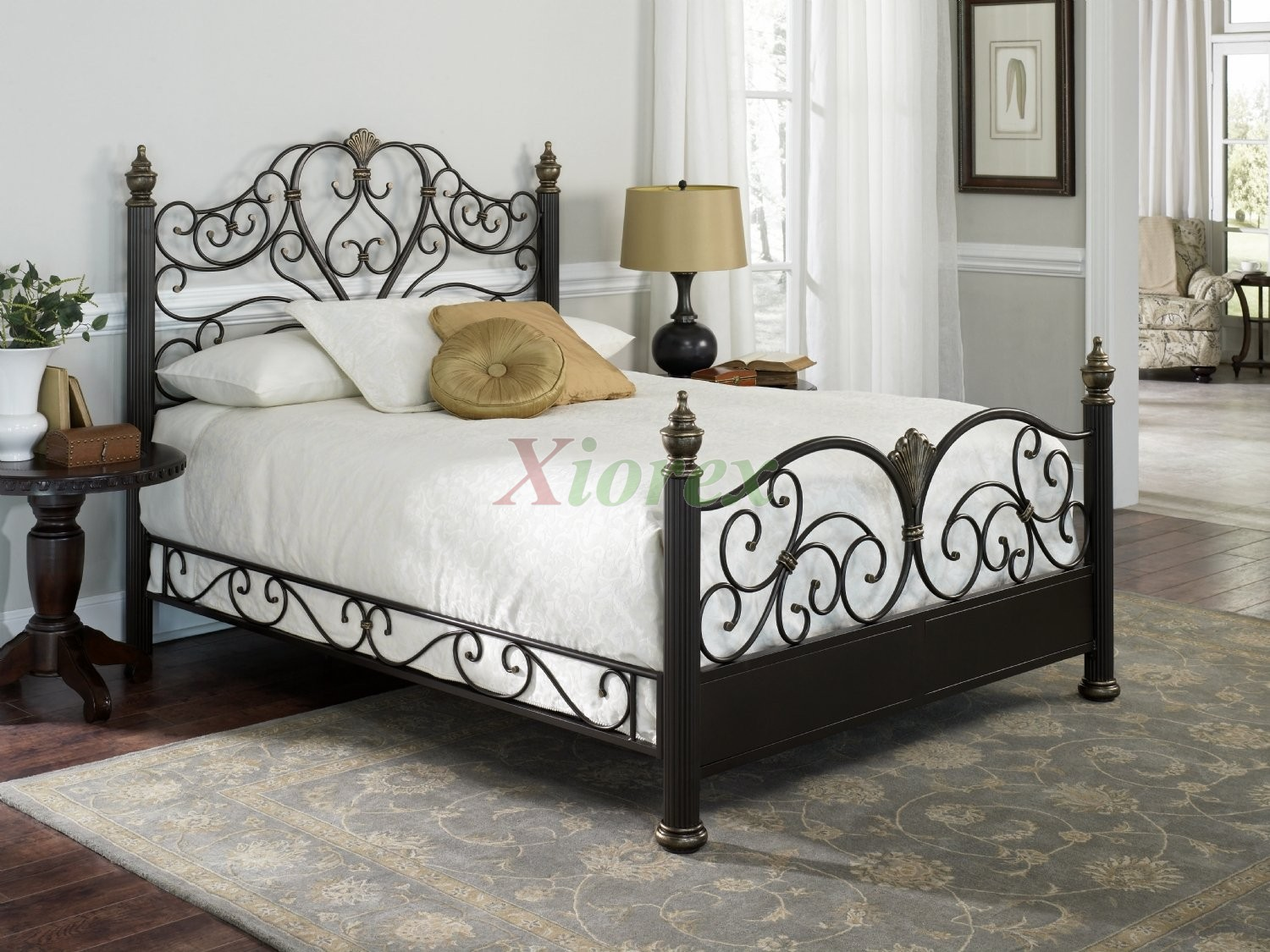 Elegance Bed Poster Bed In Gilded Truffle Finish By