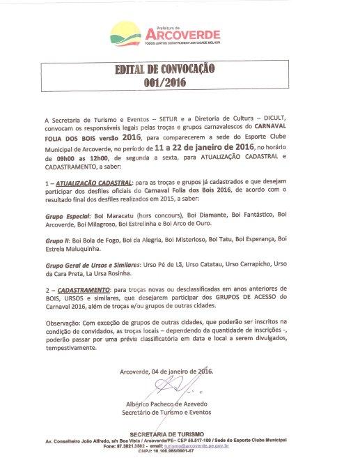 EDITAL CARNAVAL 2016